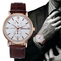 Brown Mans Watches Leather Stainless Steel Military Analog Quartz Wrist Watch