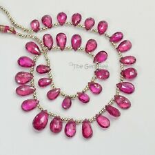 Pink Rubellite Tourmaline Faceted Pear Briolette Beads 9.5 inch strand
