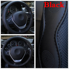 """15"""" Black PU Leather Sport Style Embossed Steering Wheel Cover For Car Auto SUV"""
