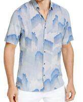 Alfani Mens Shirt Classic Blue Size Small S Fallen Geo Print Button Down $55 370
