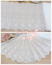 "10""*1y Vintage Style Embroidered Cotton Lace Trim Ivory White Gentle Times"