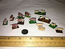 Lot 15 Vintage Plastic Tiny Miniature Model Train Animals Cows Sheep Pigs