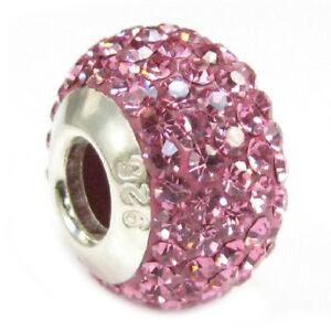 .925 Sterling Silver BIRTHSTONE ROUND Bling Bead for European Charm Bracelet