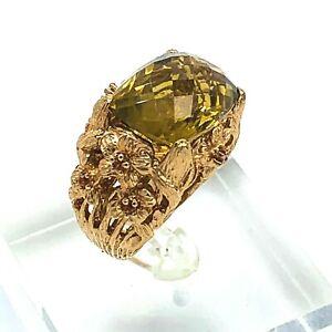 Dallas Prince Sterling Silver Ring Citrine Orange Sapphire Rose Gold Size 7