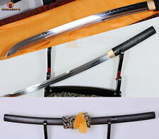 JAPANESE SHIRASAYA WAKIZASHI SWORD CLAY TEMPERED T10 STEEL BLADE BATTLE SHARP