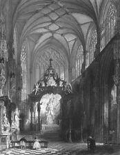 Brussels, CATHEDRAL OF SAINT MICHAEL & GUDULA CHURCH ~ 1865 Art Print Engraving