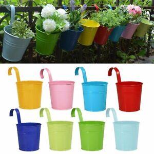 10×Hängetöpfe Blumentöpfe mit Haken Metall  Balkontopf Set Pflanzenhalter Deko