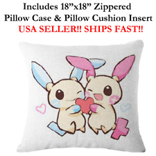 "18x18 18"" 18in POKEMON PLUSLE & MINUN KIDS LOVER Throw Zippered Pillow Cushion"