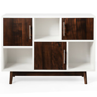Wood Display Storage Cabinet Console Table TV Stand Multipurpose W/ Door & Shelf