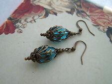 Orecchini a Tema Vittoriano vintage-Steampunk Aqua Blue