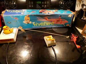 1971 VERTIBIRD Red Bird Flying Helicopter Set and Blue Box VINTAGE MATTEL