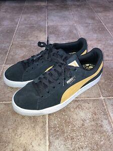 PUMA Mens Classic Puma Black/Golden Rod Fashion Sneaker Size 7.5 Yellow Suede