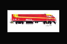 """Metra Rock Island Heritage MP36PH #425 11""""x17"""" Matted Print Andy Fletcher signed"""