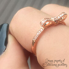 BOW RING Rose Gold PL 925 Solid Sterling Silver Stacking Band Size 5.5 / 50