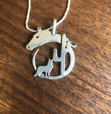 Vintage Antique Horse Cactus Coyote Western Necklace Sterling Silver Silhouette