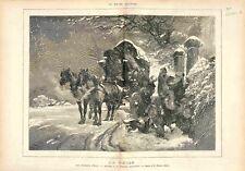 Chevaux Vacances d'Hiver Neige Maison Père de Edmond Morin Peintre GRAVURE 1875