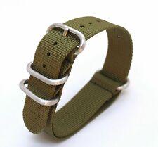 Khaki/ Army green Nylon Nato style watch strap - 20mm suit Seiko/Omega/Rolex