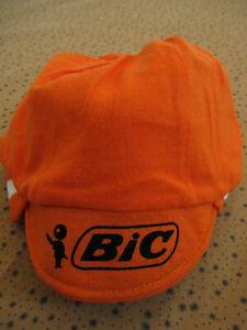 Casquette Cycliste Bic Orange Vintage 80'S velo Team cycling