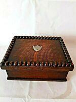 Vintage Wooden Box with Lid Brass Hinges Silver Emblem On Lid