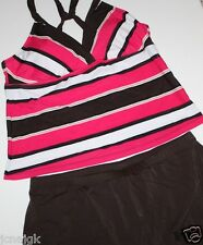 Jag NWOT Women's 2 Pc. Brown Striped Tankini Swimsuit w/ Skirt Bottoms