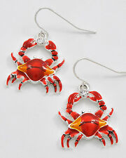 COASTAL BOUTIQUE - Red Rhinestone Carrying CRAB Earrings Fish Hook HYPO 3525