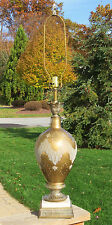 "Lovely & Unique Hollywood Regency Glass Brass & Marble Table Lamp 42"" Tall"