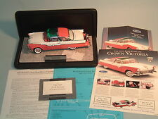 1955 FORD FAIRLANE CROWN VICTORIA PINK/WHIT FRANKLIN MINT1:24 DIECAST & DISPLAY