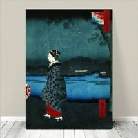 "Beautiful Japanese GEISHA Art ~ CANVAS PRINT 36x24"" Hiroshige- Night View Canal"