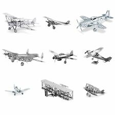 Set of 9 Metal Earth Planes Model Kits (P-51, F4U, Wright Brothers, Cessna etc.)