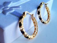 1.20Ct Round Blue Sapphire & Diamond Hoop/Huggie Earrings 14K White Gold Finish