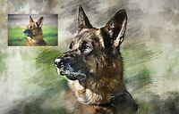 Custom Pet Portrait from Photo Drawing Sketch Digital Dog Portrait Cat Portait