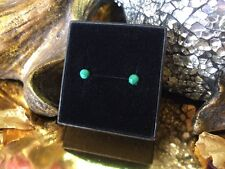 Unique natural Malachite 6mm cabochon sterling silver stud earrings 💚