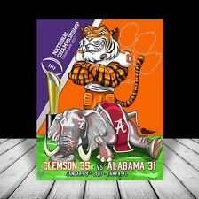 CLEMSON TIGERS in football jersey 2016 NATIONAL CHAMPIONS signed POSTER ART