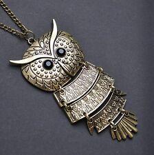 XXL Vintage Gufo Owl Collana con Ciondolo Catenella nero Occhi EU1