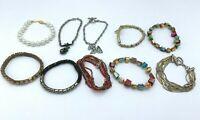 Lot of Multicolor Stretch Bracelets Metal Rainbow Pearl Bead Stone Beaded Charm