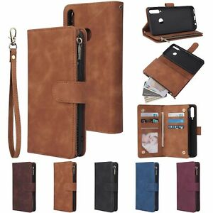 Zipper Wallet Leather Flip Case Card Slots Stand Cover For Various mobile phones
