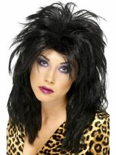 80s Rock Diva Wig Black Tina Messy Mullet Ladies Fancy Dress Costume Accessory