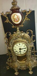 Antique Franz Hermle Imperial Vintage Ormolu And Porcelai Mantel Clock very rare