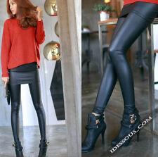 2 in 1 Leggings + Rock Stretch Asian style Jeggings Pantaloni Nero Donna 34 36 38