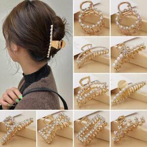 Geometric Pearl Crystal Hairpin Hair Claw Head Hoop Band Hair Women Accessories