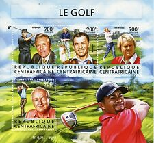 Central African Republic 2015 MNH Golf 4v M/S Tiger Woods Gary Player Ben Hogan