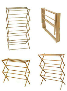 Classic 2,3,4 Tier Bamboo Vintage Traditional Wooden Folding Clothes Airer Horse