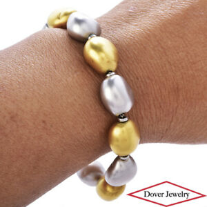 Roberto Coin Italian 18K Gold Multi Tone Perl'Amore Bead Bracelet 19.0 Grams NR