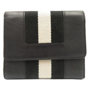 AUTHENTIC BALLY Tri-fold wallet Black/White Leather 0016