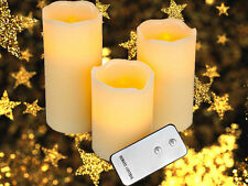3 x LED FLAMELESS CANDLES FLICKERING  FESTIVE WITH REMOTE INDOOR OUTDOOR