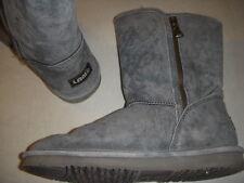 Lamo Juniper Suede Leather Zipper Detail  Boots w/Faux Fur Womens 9 M Grey +