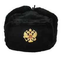 USHANKA*Russian Winter Hat*Military Style*w/Imperial Eagle Crest Badge*BLK *XXL*