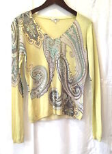 Max Mara 12 /M Pale Yellow Flower Silk Cashmere Long Sleeve Jumper