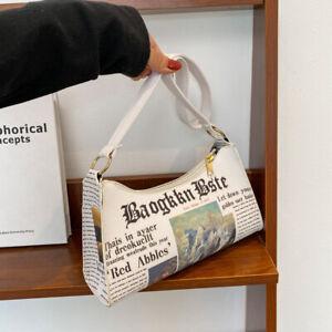 Luxury Women's Letter Print Shoulder Bag Baguette Handbag Faux Leather Underarm