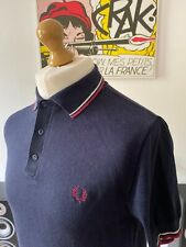 Fred Perry Navy Knitted Polo Shirt Tipped M Ribbed Cuffs & Hem Mod Ska Skins 60s